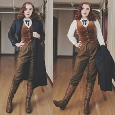 Rachel Maksy (The Pinup Companion) cosplaying as Newt Scamander from Fantastic Beasts and Where to Find Them. Tomboy Fashion, Fashion Outfits, Womens Fashion, Female Outfits, 1920s Fashion Women, Fantasy Outfits, Androgynous Fashion, Edwardian Fashion, Gothic Fashion