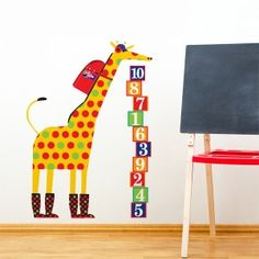 Schooltime Giraffe wall decal, 48$, at www.adzif.ca. Illustration by Julien Chung.