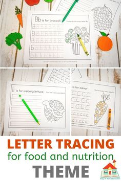 Grab these free letter tracing worksheets featuring 26 fruits and veggies.