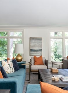 Blue And Orange Living Room, Blue Couch Living Room, Teal Living Rooms, Classy Living Room, Living Room Wood Floor, Blue Rooms, Home Living Room, Living Room Designs, Living Room Decor