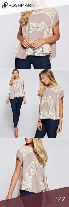 "Lace + Knit Fabric Mixed Loose Top, Blush Pink Lace Knit Mixed Loose Top - Blush Pink LACE & KNIT TOP  * Size chart {S}  - Bust 25""  - Length 23""  * Model note:  - Height 5'8  - Wearing a Size S  Fabric: 50% Rayon  45% Polyester  5% Spandex Tops Blouses"
