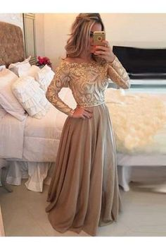 A-Line Cowl Gold Long Prom Dresses,Long Sleeves Evening Dress N04