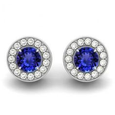 .44ctw Round Tanzanite Earring With .16ctw Diamonds in 14k White Gold available just for $ 637.99.