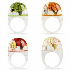 Romance That Floats On Your Fingers. Miniature Worlds in Resin Rings by Shannnam.