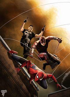 Spider Man Daredevil and The Punisher by Timetravel6000v2.deviantart.com on @DeviantArt