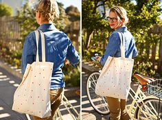 This easy DIY project is something you can do in your dorm room! Simply use a pencil eraser dipped in fabric paint to add polka dots or a design to a blank canvas bag, and you've got your own custom school tote.