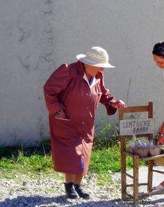 A lady in nearby village Castellucio selling lentils.