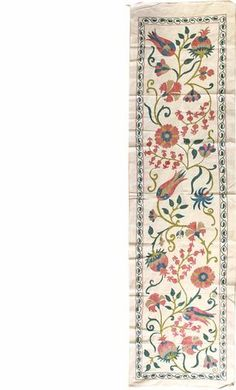 Suzanis Gallery: New Suzani Table Runner, Hand-woven in Uzbekistan; size: 1 feet 9 inch(es) x 6 feet 8 inch(es) Jacobean Embroidery, Embroidery Patterns, Hand Embroidery, Cross Stitch Patterns, Print Patterns, Fabric Painting, Fabric Art, Mughal Paintings, Oriental Print