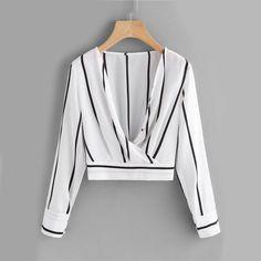 Women's Striped Surplice Crop Long Sleeve Blouse