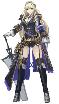Anime girl with blonde hair, blue/black/gold, robe/dress as well as golden shoulder pads and a great sword. Anime Fantasy, Fantasy Girl, Chica Fantasy, Female Character Design, Character Concept, Character Art, Fantasy Characters, Female Characters, Anime Characters
