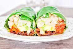 Collard Green Wrap With White Beans, Avocado, Sun-Dried Tomatoes, and Lemon Garlic Aioli — Kale Me Maybe