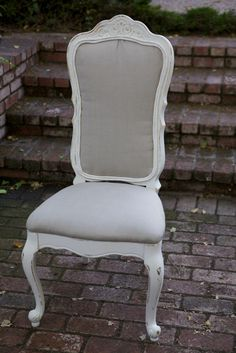 NEW item ... Vintage French Provincial Upholstered Side Chair. $274.99, via Etsy.