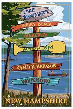 Lake Winnipesaukee, New Hampshire - Signpost Destinations (12x18 Art Print, Wall Decor Travel Poster)