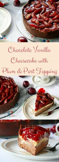 A Rich and Creamy Chocolate Vanilla Cheesecake with a boozy spiced Plum & Port Topping! My favourite Cheesecake for Late Summer and Fall! (Deutsch) Chocolate Vanilla Cheesecake mit Portwein Zwetschgen
