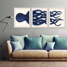 Giant Octopus Print Blue Octopus Triptych Set of 3 - octopus poster Giclee poster nautical decor Octopus wall art home decor - An Octopus Triptych made up of three inch prints of a blue Octopus. Print of an original ill -