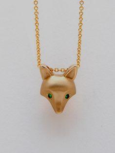 bronze fox pendant   green garnet eyes gold filled by Michaeltatom, $95.00