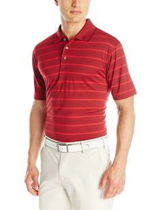 PGA TOUR Men's Performance Golf Striped Polo Shirt >>> Special  product just for you. See it now! : Sports Fitness Clothing