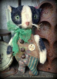 Primitive Folk Art Catnip the Cat-Doll-Plush Felt-Antique Crazy Quilt, Farmhouse, Vintage, Faap, Hafair Team by MeadowForkPrims on Etsy