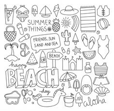 Find Summer Doodle Set Vector Illustration stock images in HD and millions of other royalty-free stock photos, illustrations and vectors in the Shutterstock collection. Bullet Journal Ideas Pages, Bullet Journal Inspiration, Colouring Pages, Coloring Books, Summer Coloring Sheets, Summer Drawings, Travel Doodles, Cute Doodles, Cute Doodle Art