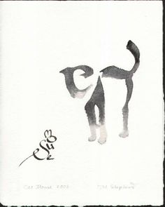 Cat and mouse calligraphy. The way the artist uses the letters to craft the animals is unreal!