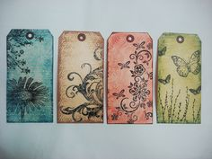 My first four distressed tags by O'funkimigo, via Flickr