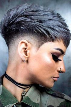 Funky Short Pixie Haircut That You Need to Try. Short pixie haircuts are still hot and getting one i Pixie Haircut For Thick Hair, Short Pixie Haircuts, Short Hairstyles For Women, Short Hair Cuts, Cool Hairstyles, Women's Shaved Hairstyles, Short Hair With Undercut, Short Undercut Hairstyles, Undercut Pixie Haircut