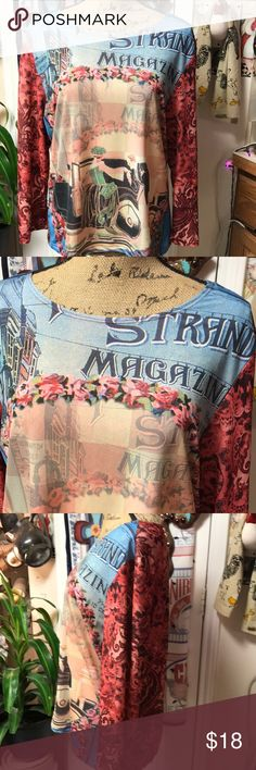 Darling retro romantic top. Beautiful colors make up this stunning, romantic long sleeve top. 100% polyester gives plenty of stretch for comfort. Gorgeous roses 🌹 surround a lovely couple at the center of attention. Very unique and will provide you with plenty of compliments. Excellent condition. Museum Tops