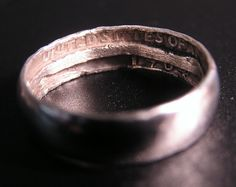 make a ring out of a silver quarter. I love how the quarter's words are on the inside of the ring.