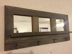 Barn wood coat rack mirror shelf handmade by Barnwoodcustom