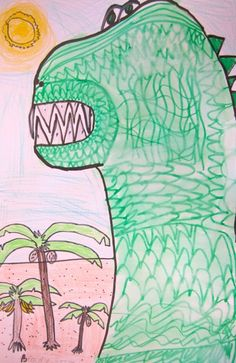 Texture dinosaur by my 1st grade artists.