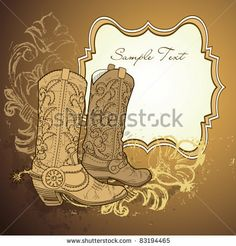 Illustration of Old Cowboy boots vector art, clipart and stock vectors. Cowboy Party Favors, Party Favor Tags, Western Logo, Old Cowboy Boots, Decoupage, All Fonts, Timberland Boots, Vector Art, Coloring Pages