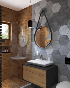 Bathroom Inspiration : Beton Design Ideas The Definitive Source for Interior Designers Beton Design, Tile Design, Bad Inspiration, Bathroom Inspiration, Wooden Bathroom, Small Bathroom, Tile Bathrooms, Bathroom Flooring, Bathroom Ideas
