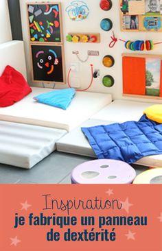 Ce panneau de dextérité mural permettra à l'enfant (dès 18 mois) et à l'adulte de développer leur motricité fine tout en s'amusant ! Il offre un large éventail d'activités et de jeux : totalement modulable grâce aux attaches auto-agrippantes (velcro), il permet de changer les activités à l'infini en fonction des intérêts de la personnes l'utilisant. Sensory Activities, Activities For Kids, Infant Room Daycare, Busy Board, Our Baby, Kids And Parenting, Diy For Kids, Kids Playing, Playroom
