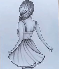 How to draw easy Girl Drawing for beginners - Step by step Art Drawings Sketches Simple, Hipster Drawings, Girl Drawing Sketches, Cute Easy Drawings, Pencil Art Drawings, Beautiful Drawings, Drawing Tips, Manga Drawing, Drawings For Girls