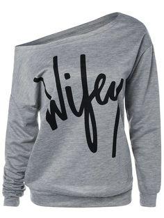 Skew Neck Wifey Print Sweatshirt