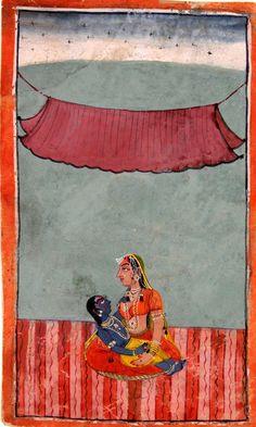 wow.  Yashoda and Krishna, Pahari, Northwestern India, 18th century.