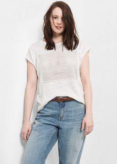 T-shirt empiècement ajouré -  Violeta | VIOLETA BY MANGO