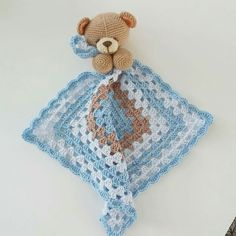 Beertje van My Krissie dolls met een granny doekje.made by Linnepin - Salvabrani Crochet Security Blanket, Crochet Teddy, Baby Afghan Crochet, Baby Afghans, Love Crochet, Crochet Motif, Crochet For Kids, Crochet Stitches, Crochet Patterns Amigurumi