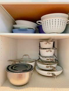 how to organize pots and pans, pots and pans storage ideas, pots and pans organization Kitchen Cabinet Storage, Low Cabinet, Storage Cabinets, Kitchen Cabinets, Pot Storage, Storage Ideas, Pot Organization, Kitchen Necessities, Pot Rack