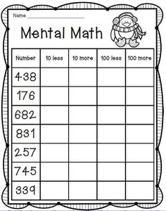 Mental Math Freebie--2nd grade math
