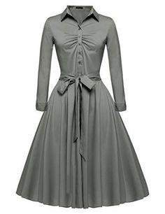 ACEVOG Women's 1950s Bow Belt Vintage Classical Casual Party Swing A-line Tea Picnic Shirt Dress  #love @shoppevero @amazon #want #shoppevero
