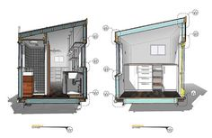 One of the best tiny house plans out there is Macy Miller's tiny house at MiniMotives. Macy's tiny home is built on a trailer and is a single level. Check out the plans for this unique tiny home design. Tiny House Loft, Best Tiny House, Tiny House Plans, Tiny House Design, Tiny House On Wheels, House Floor Plans, Gooseneck Trailer, House Built, Floor Finishes