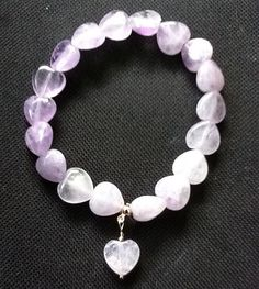 Lavender Amethyst Heart Stretchy Bracelet with Charm on Etsy, $19.03
