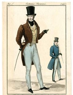 Men's Wear 1790-1829, Plate 015 :: Costume Institute Fashion Plates; From 1827--look, it's Gabe's black cravat!! The guy even has a riding crop.
