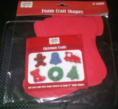 """Foam Craft Christmas Stocking in Sandis_gifts' Garage Sale in Binghamton , NY for $3. """"STOCKINGS"""" BY CHRISTMAS HOUSE       MAKE YOUR FUN PROJECT QUICK & EASY  USING PRE-CUT CRAFT FOAM SHAPES  LARGE 8"""" FOAM SHAPES 8 PIECE!  Items will ship immediately after your payment clears through PayPal (excluding Sundays). Shipping & Handling price is 2.88 if you have any questions please ask."""