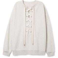 Honey Sweatshirt ❤ liked on Polyvore featuring tops, hoodies, sweatshirts, oversized sweatshirts, oversized tops, lace up front top, lace up top and lace up sweatshirt
