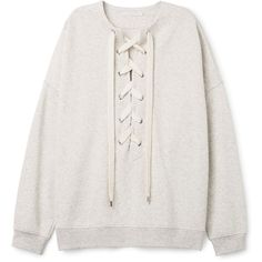 Honey Sweatshirt ❤ liked on Polyvore featuring tops, hoodies, sweatshirts, sweaters, oversized sweatshirts, lace up top, drop shoulder tops, oversized tops and lace up sweatshirt