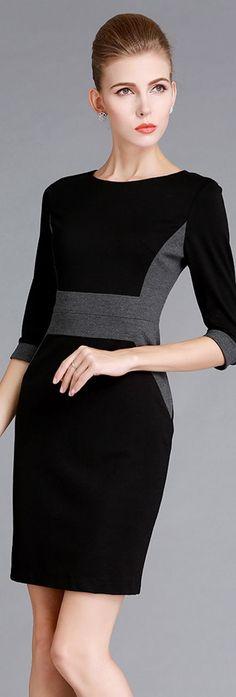 Dark Half Sleeves Patchwork Dress