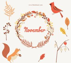 CLIP ART - November - for commercial and personal use. €6.35, via Etsy.