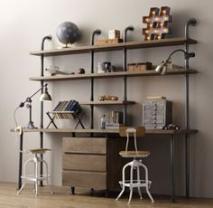 $1650- RH baby&child's Industrial Pipe Double Desk & Shelving with  Drawers:Sturdy steel pipes and matching cast fittings serve as the structure for our hardworking pieces, while warm wood planks provide support for books and a workspace for the industrious.